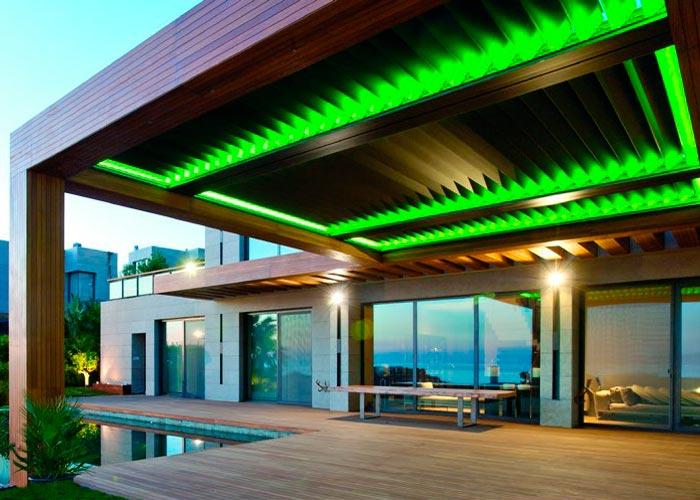 sistem de iluminare pergole metalice bioclimatice verde