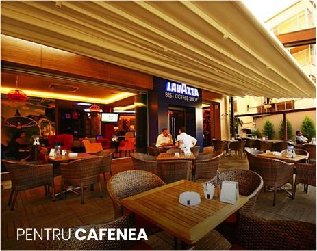 pergole cafenea, terasa cafenea cu pergole restractabile, sistem de iluminare integrat, functioneaza electric