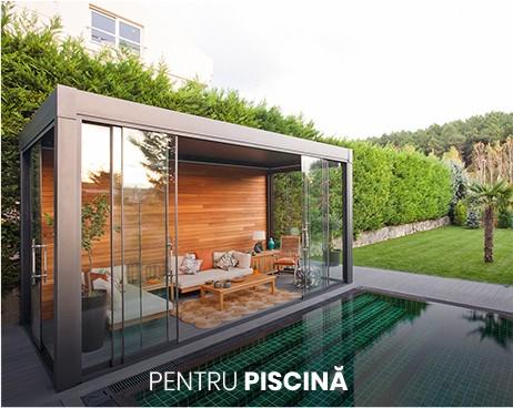 pergole bioclimatice asezate langa piscina pentru umbra si protectie, din aluminiu