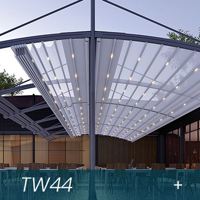 pergole restaurant cu acoperis retractabil, impermeabil, care filtreaza razele UV si tine umbra
